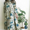 レディースファッション ワンピース シャツワンピ ひざ下丈 5分袖 ゆったり 花柄 夏物 おしゃれ 涼しい 綿混 麻混 婦人服 ミセスファッ…