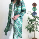Juno ジュノー レディース シャツブラウス チェック柄 七分袖 チュニック丈 羽織 綿混 シルク混 アシメ おしゃれ かわいい 40代 50代 6…