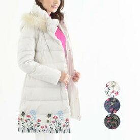 レディース 花柄刺繍ダウンコート かわいい アウター 冬物 女性 ミセス カジュアル ファッション【ホワイト/ネイビー/ブラック】【送料無料】