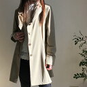 レディースコート アウター スプリングコート 春物 秋物 くしゅくしゅ衿 おしゃれ ミセスファッション 40代 50代 カジュアル ベージュ …