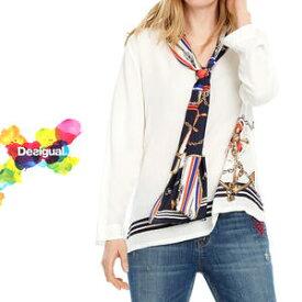 デシグアル Desigual レディース ミセス ファッション 春夏 トップス 長袖 ブラウス マリン ボウタイ 30代 40代 50代【S/M/L/XL/小さいサイズ/大きいサイズ】【送料無料】