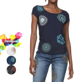 デシグアル Desigual レディース ミセス ファッション 春夏 トップス 半袖 Tシャツ 花柄 30代 40代 50代【ホワイト/ネイビー/ブラック】【S/M/L/XL/小さいサイズ/大きいサイズ】