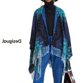 Desigual デシグアル レディース ミセス ファッション 羽織 着流し ポンチョ カーディガン カジュアル 総柄 30代 40代 50代【ネイビー】【フリーサイズ】
