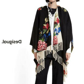 Desigual デシグアル レディース ミセス ファッション 羽織 着流し ポンチョ カーディガン カジュアル 総柄 花柄 英字 30代 40代 50代【ブラック×ベージュ】【フリーサイズ】