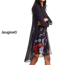 デシグアル Desigual レディース ミセス ファッション チュニックワンピ チュニック ワンピース フィッシュテール 花柄 長袖 30代 40代 50代【ブラック】【M/L/XL/大きいサイズ】【送料無料】