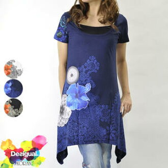 Size 40t2478 which Deaigual デシグアルレディース short sleeves tunic cut-and-sew has a big