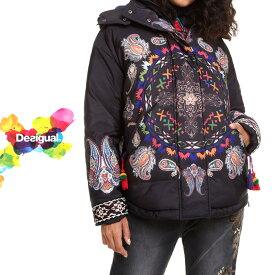 セール SALE 30%off デシグアル Desigual 中綿コート レディース ミセス ファッション アウター ジャケット ファー 花柄 30代 40代 50代【ベージュ/ネイビー/ブラック】【M/L/XL/大きいサイズ】【18WWEW24】