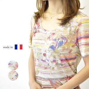 フランス製 鮮やか花柄カットソー 夏物 Tシャツ 半袖 綺麗 カラフル ミセス 50代 60代 プレゼント ギフト 母の日 高級【送料無料】