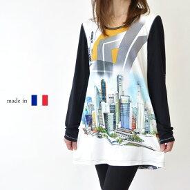 【フランス製】レディース 長袖チュニック 快適 Tシャツ 総柄 大きいサイズ ミセスファッション 高級 プレゼント 母の日 贈り物 50代 60代 ブルー【送料無料】
