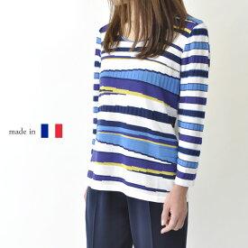 【フランス製 】サマーニット 8分袖 おしゃれ 大きいサイズ ミセスファッション 高級 プレゼント 母の日 贈り物 50代 60代 ネイビー【送料無料】
