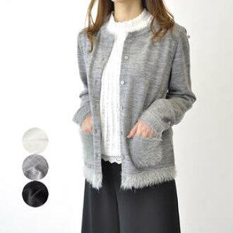 秋天冬天對襟毛衣短外罩女士圓領囗長袖子夫人休閒時裝40幾歲50幾歲漂亮的白/灰色/布萊克