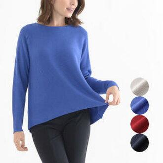 交通肋條編織物毛衣長袖子圓領囗女性時裝夫人40幾歲50幾歲漂亮的禮物包裝禮物淺駝色/藍色/紅/深藍