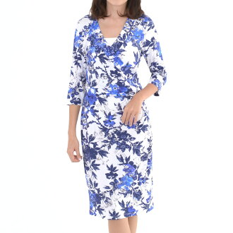 The size that is big for Smashed Lemon smash lemon dress long dress floral design half-length sleeves foreign countries import fashion Mrs. Lady's women's wear fashion 40s 50 generations