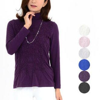 女子的瓶頸套衫時裝夫人40幾歲50幾歲頂端針織禮物禮物母親節白/灰色/粉紅/藍色/紫/黑色