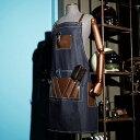 送料無料 レザーパッチデニムエプロン 男女共用 美容師エプロン レザー エプロン デニム ファッションエプロン メンズ…