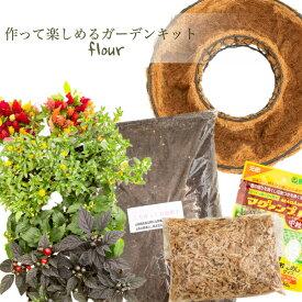 【花のまちころぼっくる】キット季節の花のハンギングリースDIY 手作りガーデン つくって飾る吊るす 立て掛ける 直置き寄せ植えリース ギャザリング