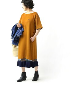 FRED PERRY(フレッドペリー) 裾配色ニット ドッキング 半袖 フレアワンピース FLARE HEM DRESS・F8516-3871902【レディース】【■■】