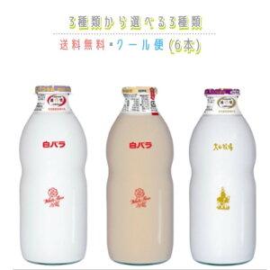 白バラ ビン 900ml 3種類から選べる1種類 (6本) 送料無料 クール便 厳選大山牧場 牛乳 こだわりカフェオレ ビン びん 大瓶 コーヒー 朝ごはん おやつ ジュース 特選 生