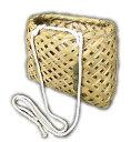 竹製山菜かご荒編みタイプ特小サイズ平型タイプ腰かご腰紐つき