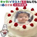 最短当日出荷★6号 6〜8人 丸 生クリーム 直径 18cm お誕生日ケーキ 写真 ケーキ フォトケーキ 子供 一歳 1歳 1才 男…