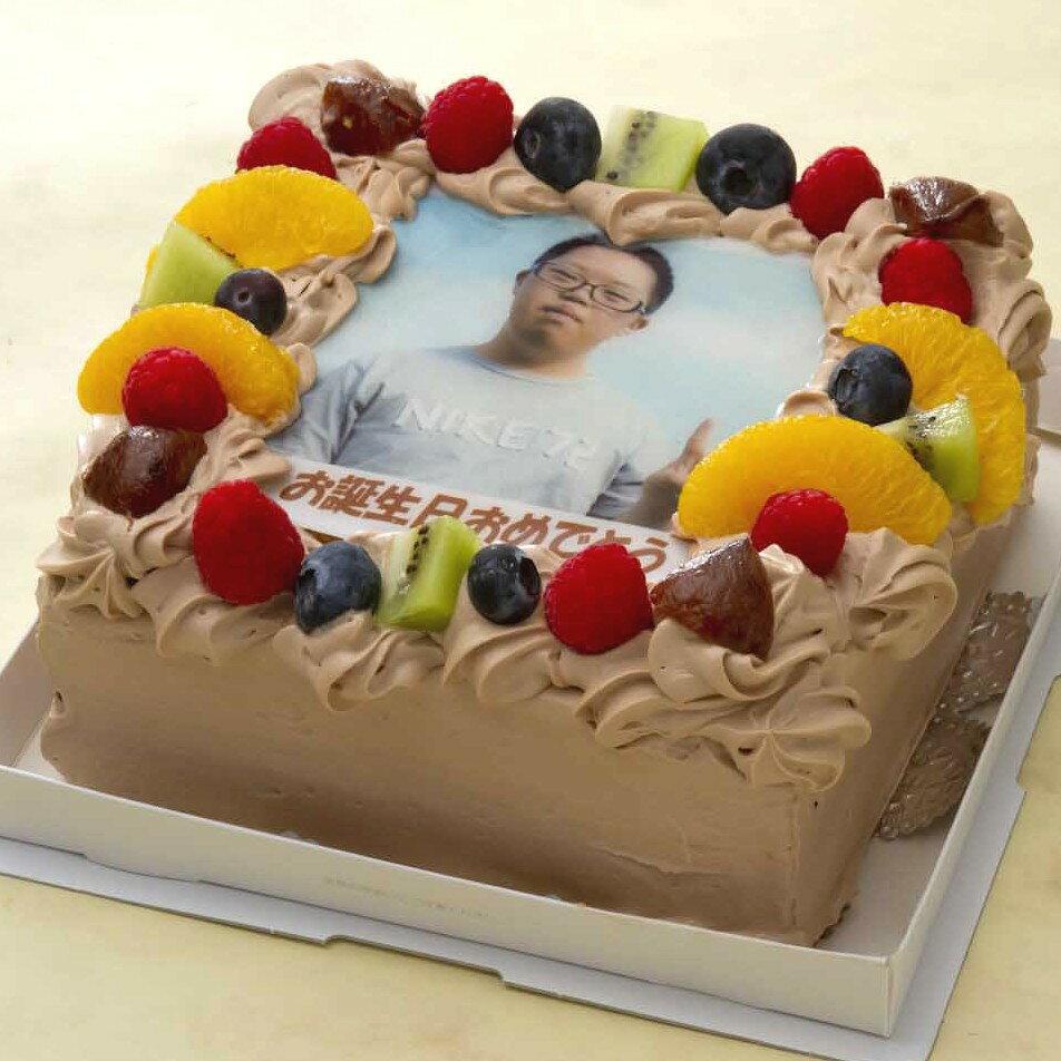 写真ケーキ(四角) 生チョコ 5号【冷凍 到着後は冷蔵庫で3〜4時間保管解凍】15×15cm