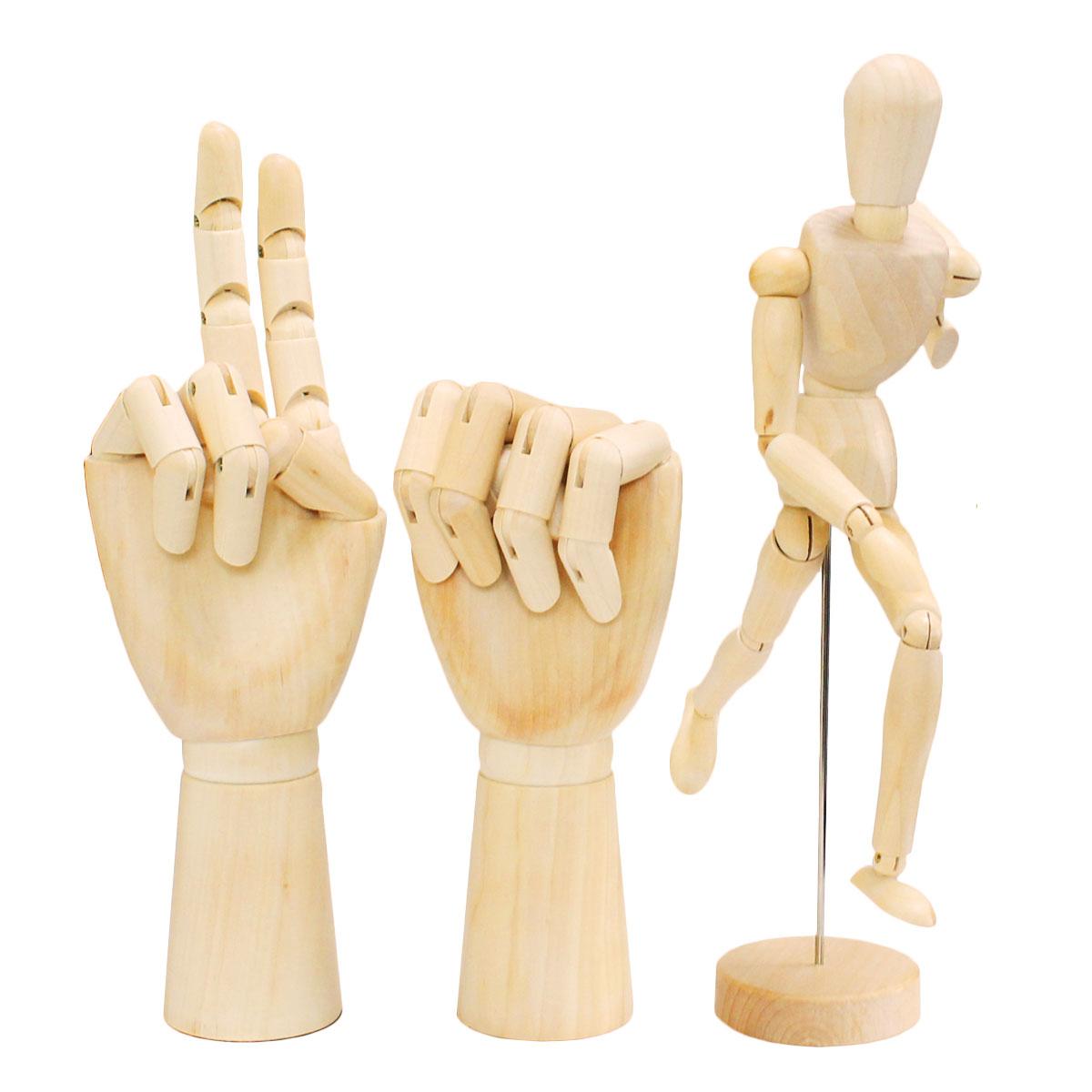 デッサン ドール 人形 ハンド マネキン 手 3点セット 木製
