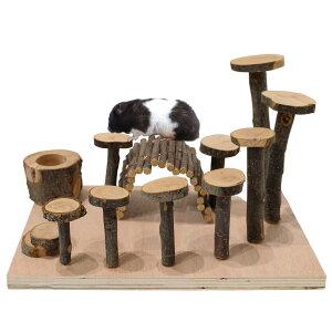 ハムスター おもちゃ 遊び道具 かじり木 リス アスレチック 木製 インコ トンネル 餌入れ 木 小動物 ハウス 家 内装 セット