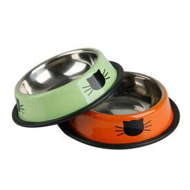 猫 食器 可愛い 猫用 餌入れ 水飲み ネコ 水入れ 皿 ねこ 水 えさ 入れ 子猫 フード ボウル ステンレス 2個 セット