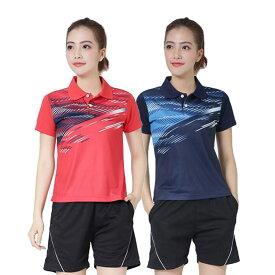 【上下セット】卓球 ユニフォーム レディース トレーニング ゲームシャツ ハーフパンツ tシャツ パンツ 練習 ゲーム ウェア 半袖 女性 練習着