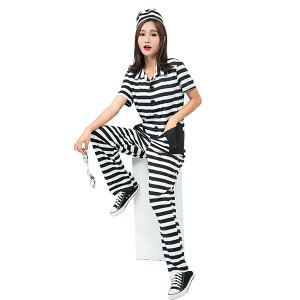 囚人服 レディース つなぎ 手錠付 コス 囚人 コスチューム ロンパース 女性 ハロウィン コスプレ 衣装 仮装