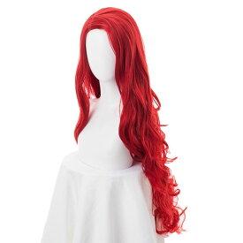 エ アリエル ウィッグ コスプレ ハロウィン 人魚姫 プリンセス かつら ロング 赤毛 鬘 仮装