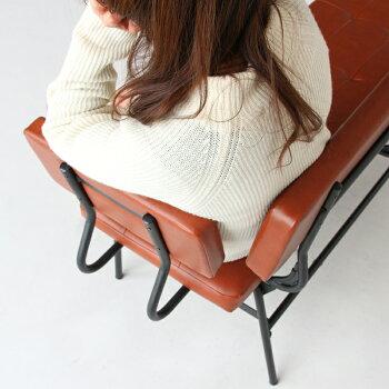 【送料無料】ベンチダイニング横幅128cm背もたれありソファーベンチブラウンインダストリアル長椅子椅子LDリビングダイニングPVC合皮金属ウレタンスチールデザインおしゃれ家具2人掛けANC-3050BRanthemLDBenchカフェインテリア