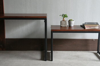 大小2個セット横幅90cm/横幅65cmネストテーブルサイドテーブル台リビングテーブルウォールナットanthemNestTableANT-3194BR