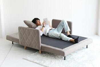 【送料無料】ソファーベッドリクライニングベッド簡単切替ソファー2人掛ソファーベッドbedファブリック布ファブリッククッションsofa