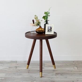 【送料無料】サイドテーブルemoSideTableEMT-3063BRGLナイトテーブルコーヒーテーブルゴールドブラウン北欧カフェ寝室収納木製インテリア家具サークル円形丸ラウンド天然木おしゃれベッドサイドテーブル引越しソファーテーブル
