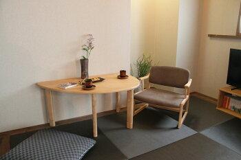 【送料無料】LotonLivingTableテーブルデスク机天然木半円継ぎ脚高さ調整