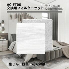 KTJBESTF 空気清浄機交換用フィルターセット (AC-FT06 セット) HEPA集じんフィルター(1枚) と 活性炭脱臭フィルター(1枚) まとめ2枚入り 互換品