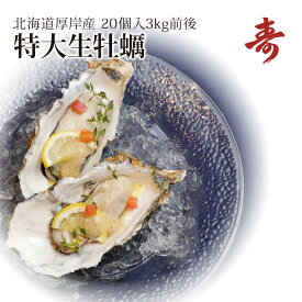 ギフト 牡蠣 殻付き 生牡蠣 カキ 北海道 厚岸 マルえもん 希少な特大3Lサイズ(1個約150g) 20個生食可 内祝い お返し