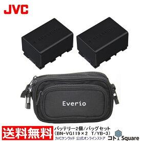 【お買い得アウトレット品】メーカー純正 バッテリー 2個にカメラバッグをセット JVC ビデオカメラ用バッテリー リチウムイオンバッテリー ビデオカメラ用 Everio エブリオ 過充電/過放電防止回路付 JVCバッテリー 純正品 BN-VG119 2個 カメラバッグ付
