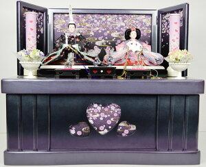 【ひな人形】親王収納飾り【北寿監修】キャンディハート黒・紫※お子様用のアクセサリー付き※サービス品付き