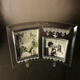 【送料無料】 【名入れ】 ガラスフォトフレーム ジュエリーチャーム 2ウインドー ガラス フォトフレーム 2枚用 複数枚 写真たて名入れ プレゼント 名入れ フォトフレーム 結婚祝い 結婚記念日 クリスマス プレゼント ギフト 出産祝い お祝い 名入れ 父の日