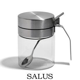 調味料入れ ガラス スパイスジャー 300ml スプーン付き. 片手で使いやすい 砂糖 塩 容器 おしゃれ スパイス 調味料保存 スパイスジャー ステンレス 耐熱ガラス スタイリッシュ キャニスター 重厚感 高級 デザイナーズ キッチン雑貨 おすすめ SALUS