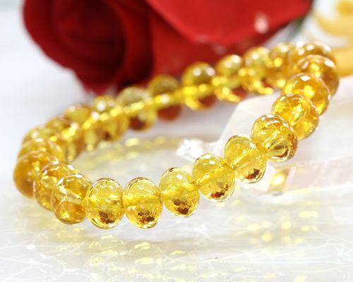黄水晶ブレスレット|シトリンブレスレット|天然石水晶|パワーストーンブレスレット|金運アップをさせる守護石|メール便送料無料