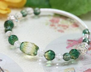 グリーンクォーツ|本水晶|ブレスレット|緑水晶|緑水晶ブレスレット|天然石水晶|パワーストーン|パワーストーンアクセサリー|金運仕事運