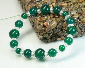 グリーンアゲート 水晶 ブレスレット グリーンアゲート クリスタル ブレスレット 緑メノウ 水晶 ブレスレット 瑪瑙 緑瑪瑙 天然石 パワーストーン 水晶 メール便 送料無料