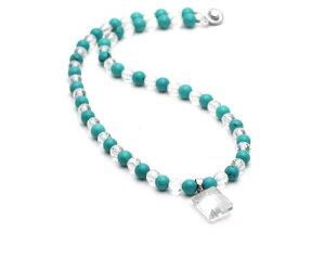 天然石 ネックレス ターコイズ 水晶 ネックレス 旅のお守り パワーストーン ネックレス ターコイズ レディース ネックレス アクセサリー 交通安全