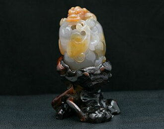 Agate ornament agate 貔貅 motif priest's staff モチーフヒキュウ ornament nature stone power stone agate