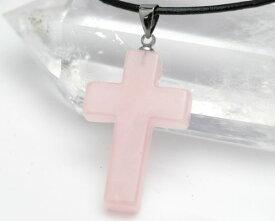 ローズクォーツ ペンダントトップ ローズクォーツ クロス(十字架) パワーストーン ペンダント 天然石 ひも付き