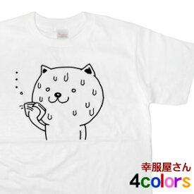 KOUFUKUYA おもしろ「滝汗ネコ」Tシャツ 男女兼用 オールシーズン 綿100% 全4色 140cm-160cm/S-XL cat23