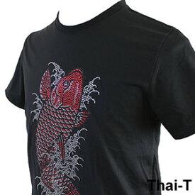 キラキラのスタッズ「鯉(コイ)CARP」半袖Tシャツ 微笑みの国「タイ王国」直輸入Tシャツ お土産 i_thai04